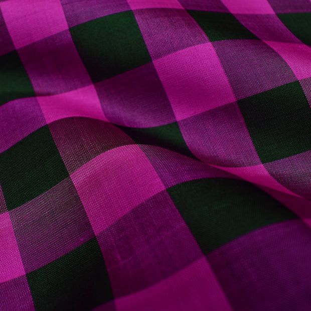 Black & Rose Checked Soft Silk Fabric
