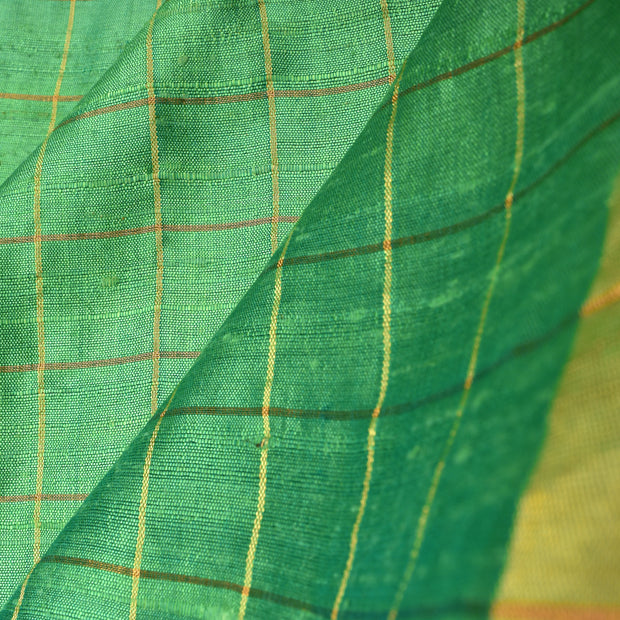 Pastel Green Checked Tussar Silk Fabric