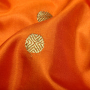 Orange Rudraksham Zari Button Soft Banarasi Silk Fabric