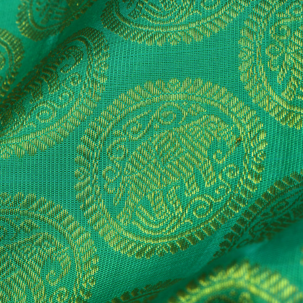 Turquoise Blue Kanchi Silk Fabric With Elephant Butta Design