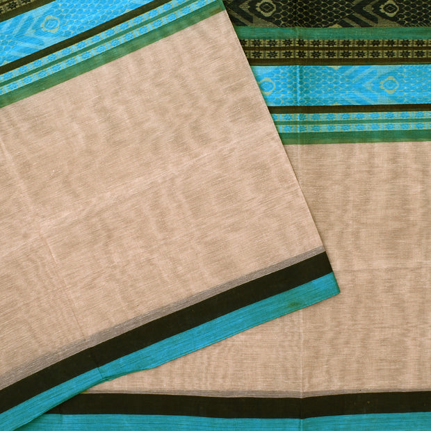 Half White Thread Zari Butta Cotton Saree
