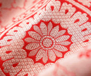 Red Banarasi Silk Fabric With Round Zari Design Highlights