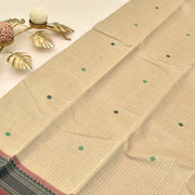 Half White Kanchi Cotton Saree With Blouse