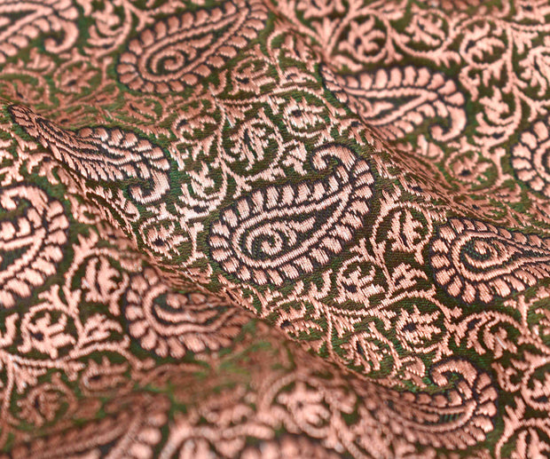 Forest Green Banarasi Silk Fabric With Antique Paisley Floral Butta Highlights