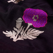 Black Banarsi Silk Fabric With Multi Floral  Thread Butta And Zari Design