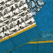 White Birds Printed Bengal Cotton Saree With Blue Printed Blouse