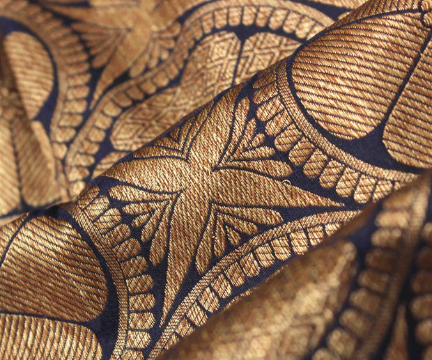 Blue Banarasi Silk Fabric With Antique Zari Butta Highlights