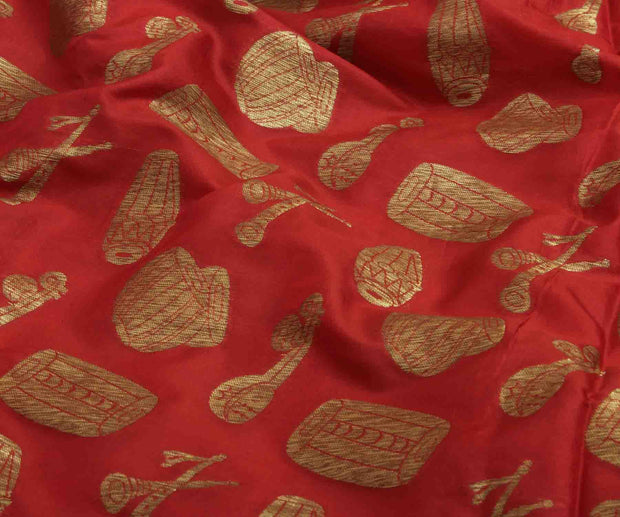 Red Banarasi Silk Fabric with Instrumental Design