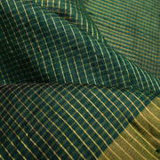 Bottle Green Checked Ikkat Silk Fabric