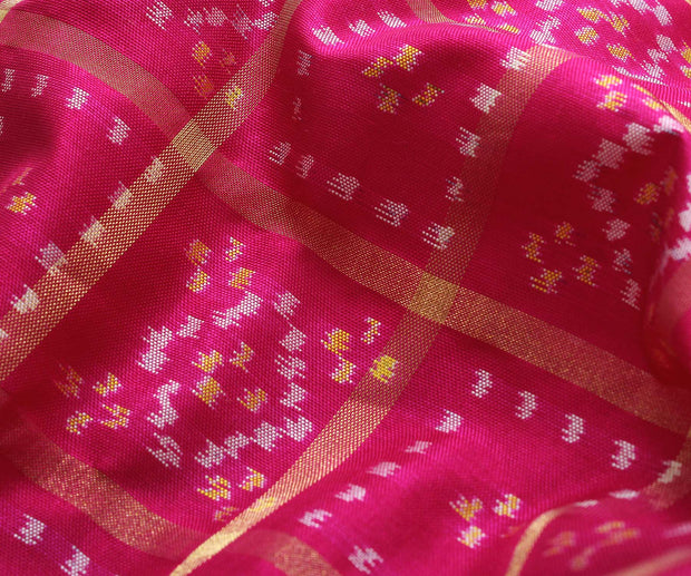 Pink Color Silk Ikkath Fabric