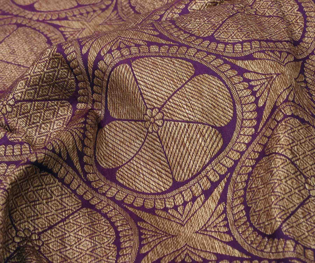 Purple Banarasi Silk Fabric with Antique Zari