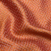 Tangerine Orange Thread Embroidered Tussar Fabric