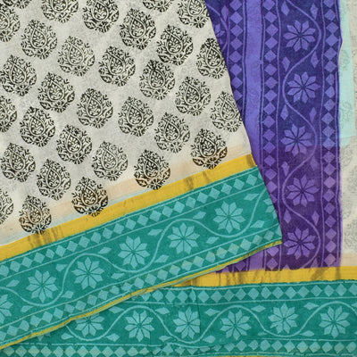 White Floral Printed Bengal Cotton Saree With Sea Green Floral Printed Blouse