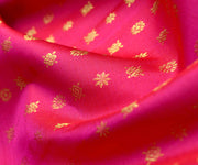 Rose Kanchi Silk Fabric With Star Button Design Highlights