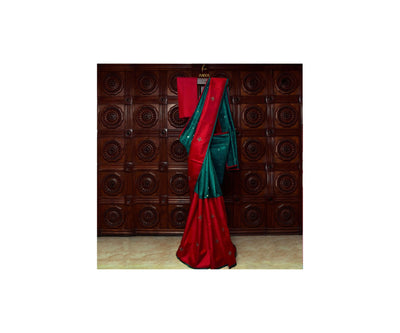 Red Kanchi Silk And Peacock  Green Tussar Half And Half Saree With Blouse
