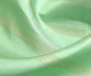 Pistachio Green Kanchi Silk Fabric With Striped Zari Design