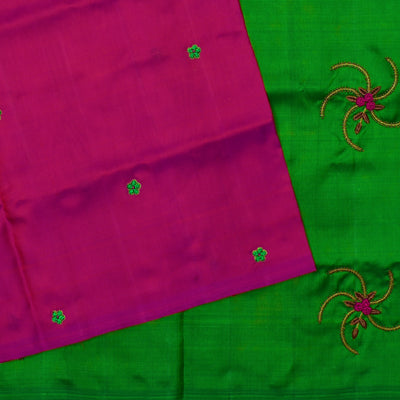 Rose  Frenknot Embroidery Kanchi Silk Saree With Green Pallu Embroidered With Bullion Knot , Zardosi And Bead Design With Blouse