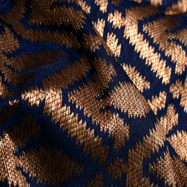 Indigo Blue Antique Zari  Floral Butta Banarasi Silk Fabric
