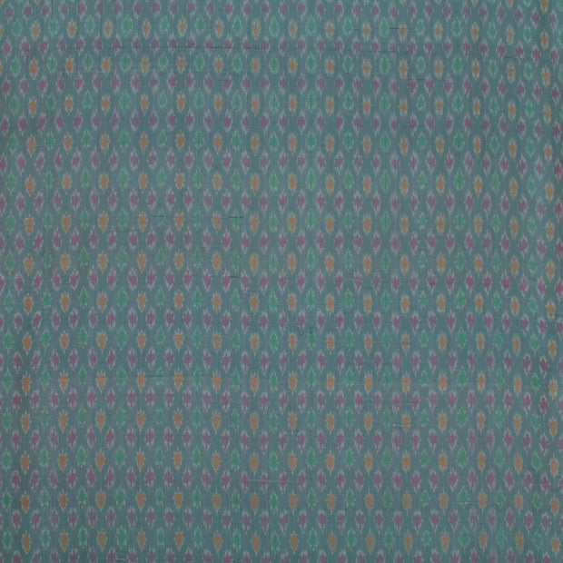 Slate Grey Raw Silk Ikkat Fabric