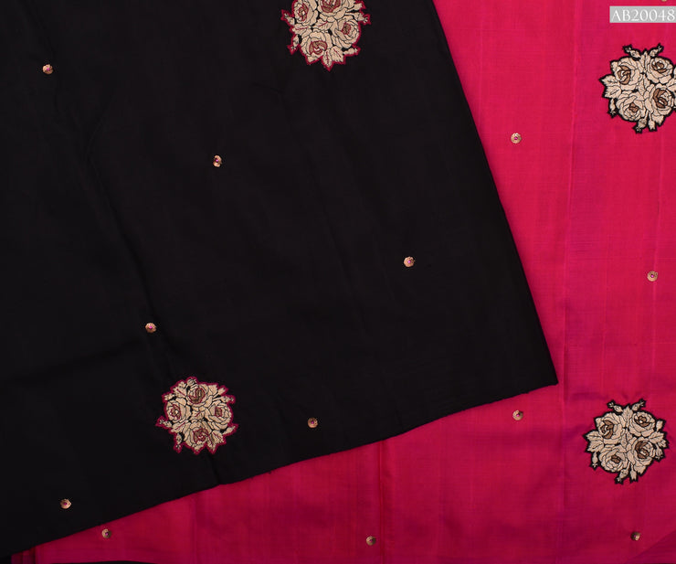 Black Kanchi Silk Saree With Hot Pink Pallu Crafted With Banarasi Applique - With Blouse