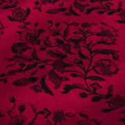 Crimson Red Floral Printed Kanchi Silk Fabric