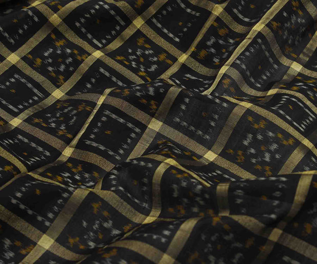 Black Ikkath Fabric With Golden Checks