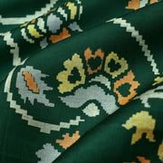 Green Floral Printed Kanchi Silk Fabric