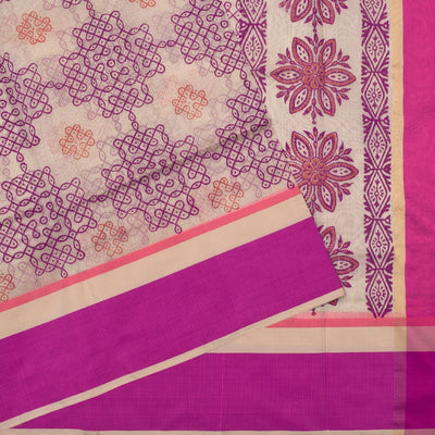 Half White Kollam Printed Kota Cotton Saree With Blouse And Rose Border