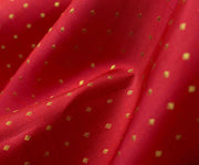 Red Kanchi Silk Fabric With Kuligai Button Design Highlights