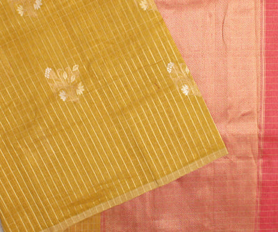 Mustard Checked Floral Linen Banarasi Silk Saree With Peach Blouse