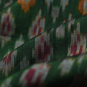 Bottle Green Ikkat Silk Fabric