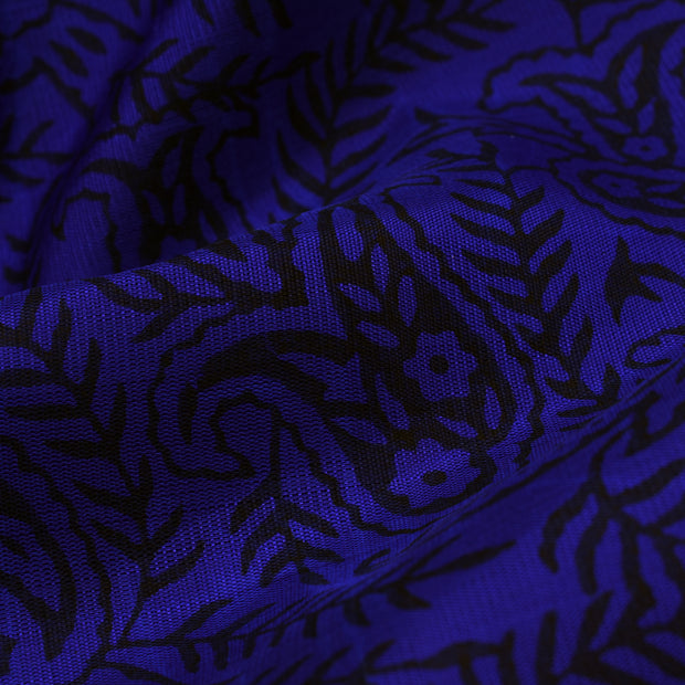 MS Blue Printed Kanchi Silk Fabric