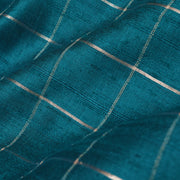Peacock Blue Checked Tussar Silk Fabric