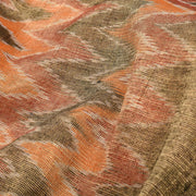 Gold And Orange Zig Zag Ikkat Tissue Fabric
