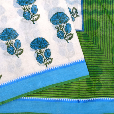 White Floral Printed Bengal Cotton Saree With Blue And Green Border And Blue Striped Blouse