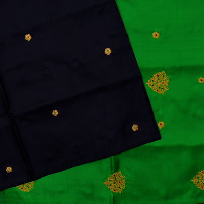 Black Zari Thread Embroidery With Green Floral Thread And French Knot Embroidery With Green Blouse