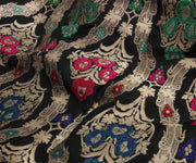 Black Banarasi Silk Fabric with Wave Design