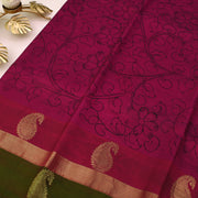 Dual Tone Pink With Red Kalamkari Saree With Dual Tone Green with Red Blouse