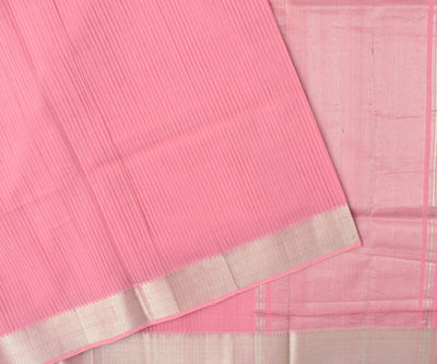 Pink Mangalagiri Cotton Saree With Silver Temple Zari Border Design With Blouse