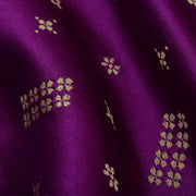 Purple Floral Button Satin Banarasi Silk Fabric