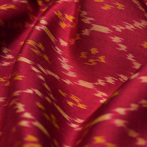 Red Patan Patola Silk Fabric With Zari Border