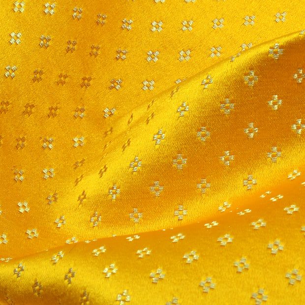 Mustard Kuligai Button Satin Banarasi Silk Fabric