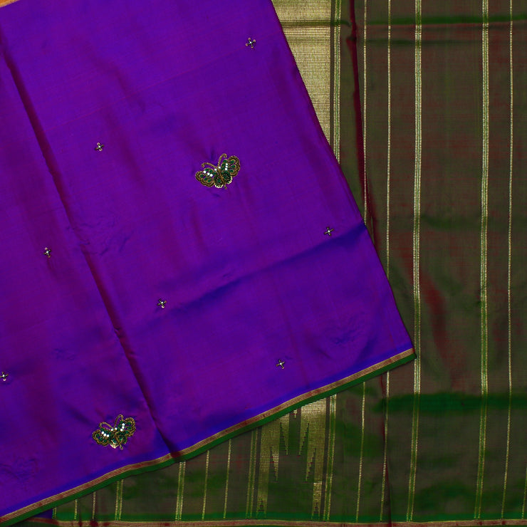 Purple And Honey Brown Butterfly Zardosi , Frenchknot And Sequin Embroidery Kanchi Silk Saree With Dual Tone Green Blouse