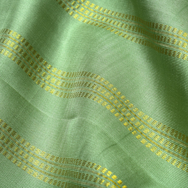 Apple Green Muthu Line Kanchi Silk Fabric