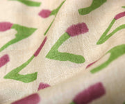 Off White Tussar Fabric With Printed Designs