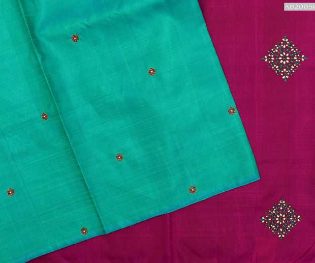 Turquoise Blue Kanchi Silk Saree With Rose Pallu Crafted With Kundhan Diamond Work - With Blouse