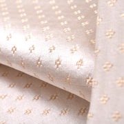 Half White 4 Kuligai Button Satin Banarasi Silk Fabric