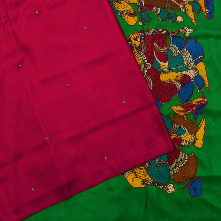 Red Sequin Embroidered Kanchi Silk Saree With Green Pallu  Embrodered With Kalamkari Applique Design With Blouse