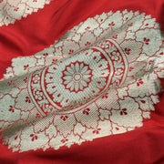 Red Banarasi Silk Fabric With Large Zari Butta Design