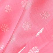 Peach Kanchi Silk Fabric With Silver Zari Kamalam Butta